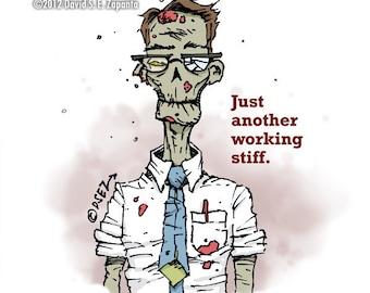 Melancholy Greetings - Zombie workplace greeting card (blank inside)