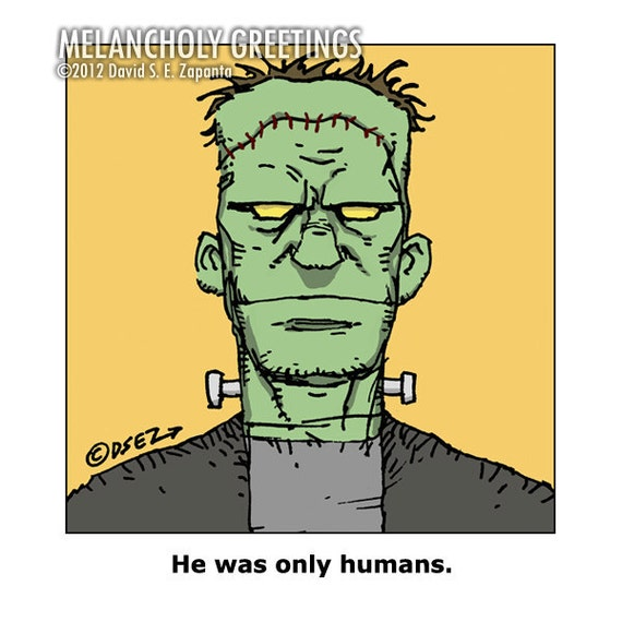 Melancholy Greetings - Frankenstein greeting card (blank inside)