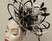 Large Black White 2 Loop colour Diamante Feather Fascinator Hat - wedding, ladies day - choose any colour feathers & satin