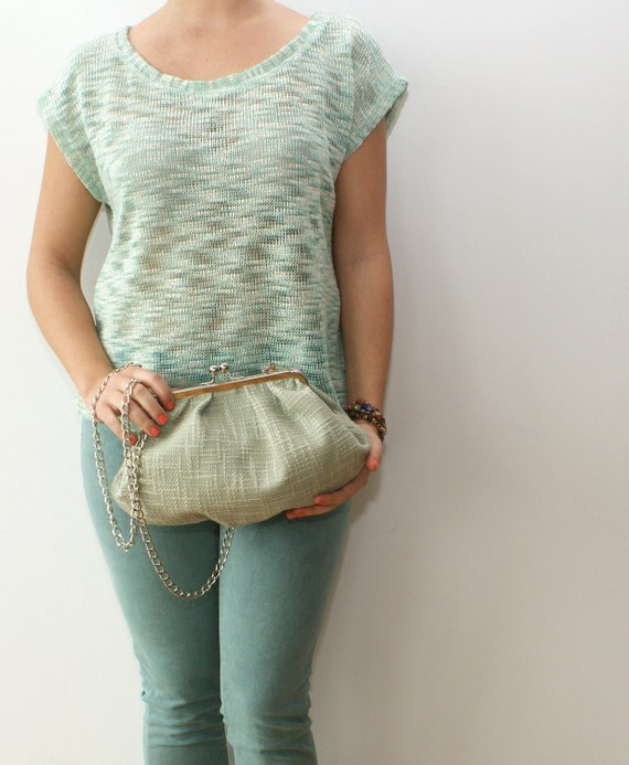 Mint & Silver clutch bag