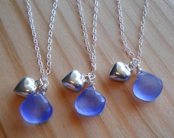 Brilliant blue chalcedony faceted heart briolette necklaces, wrapped in sterling silver with a .925 puffed heart.