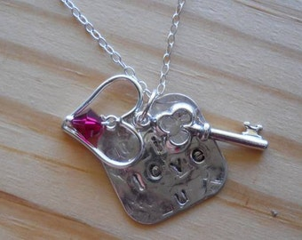 "Hand stamped sterling silver necklace "" I love u""... The key to your heart..."