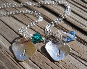 2 Hand stamped sterling silver necklaces with  swarovski crystals perect for FLOWER GIRLS.