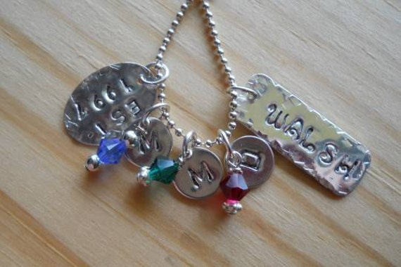 Hand stamped sterling silver necklace with swarovski crystals. Mothers, grandmothers, friends...