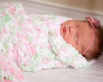 "Baby Girl Blanket Pink Baby Blanket White Baby Blanket Mint Baby Blanket Photo Prop Terry Cloth-like Baby Wrap Newborn Photo Shoot 33"" x 33"""