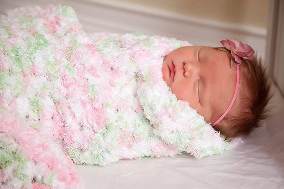 Baby Girl Blanket Pink Baby Blanket White Baby Blanket Mint
