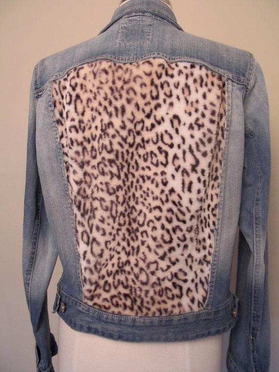 Leopard Studded Faux Fur Denim Jacket