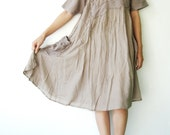 NO.49   Light Grey Cotton Asymmetrical Mandarin-collar Tunic Dress