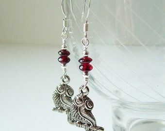 Athenian Owl Earrings -- Garnet (Silver)