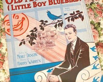 Vintage 1928 Sheet Music Old Man Sunshine Little Boy Bluebird 1920s Cover Art Deco