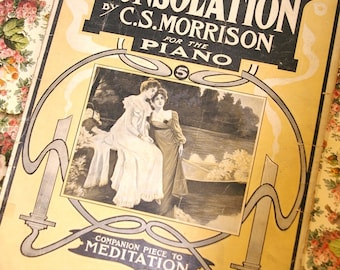 Antique 1907 Sheet Music Consolation For The Piano 1900s Cover Art