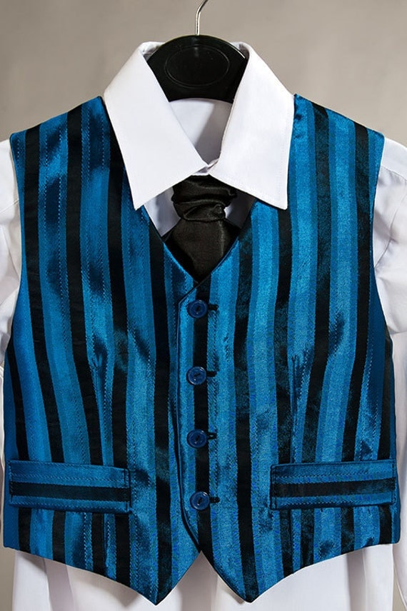 Boy suit, blue / black vest and tie for a boy height 50 inch (128 cm), OOAK, boys party outfit, birthday boy suit, navy blue