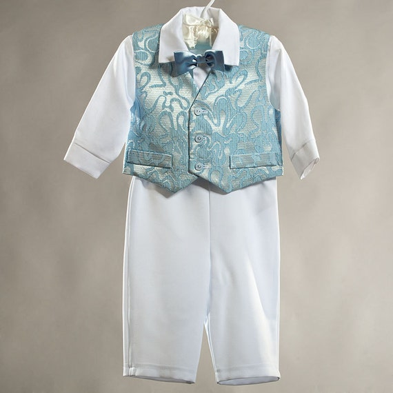 Baptism christening boy outfit first birthday boy suit baby party clothes ring bearer boys suit white and blue kids baby satin clothes