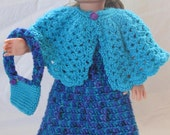 Unique American Girl Dress, poncho, purse and shoes