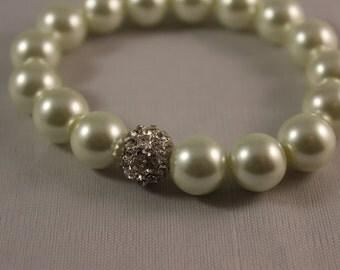White Pearl Rhinestone Pave Bead Bracelet