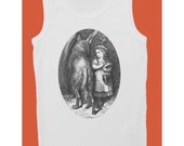I am Your Wolf  (100% White cotton tank top with Little Red Riding Hood Gustave Doré print)