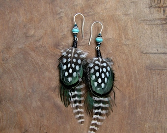 Unique Patterned Guinea Rooster Pheasant Feather Earrings