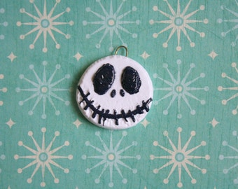 Jack Skellington,Nightmare Before Christmas,Disney,Inspired,Pendant,OOAK, Handmade,Halloween,Animation,Stop Frame,Head,Face,Gift,Jewelry