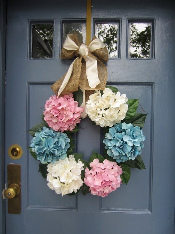 Pink, Blue and White Hydrangea Wreath for Spring/Summer - LG