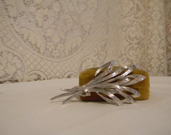 Vintage Monet Classic Silver Tone  Brooch,Harvest Look Brushed and Polished Silver Tone Metal