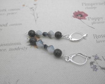 Gray Day Bead Dangle Earrings