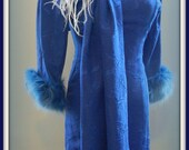 1960s blue beauty with fur trim and shawl