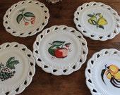 "On Sale Fostoria Betsy Ross Fruit & Flowers Decoration on MIlk Glass 8"" Plate Open Leaf Pears Set of 5"