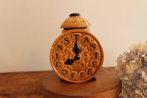 Lefton Porcelain Instant Coffee Alarm Clock Jar with Lid