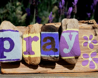 Purple& Yellow PRAY Driftwood Sculpture with plumeria themed flowers (Made to Order)rustic