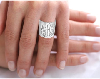 Personalized Monogrammed Cuff Ring - Initials Ring in Sterling Silver Or Solid White Gold - Engraved Initials Ring - Personalized Cuff Ring