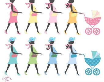 Elegant Mom-to-be Silhouette Girl and Boy Clip Art Set