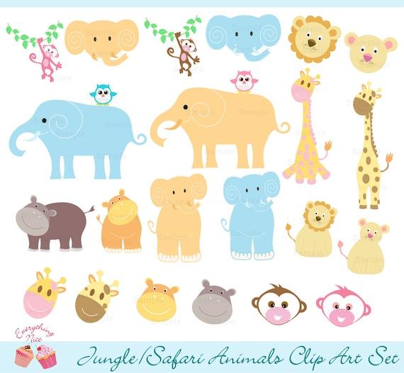 Jungle Safari Animals Clip Art Set
