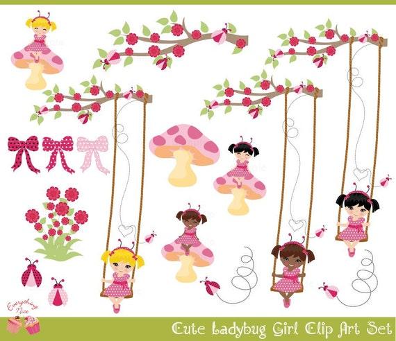 Ladybug Girl Clip Art Set