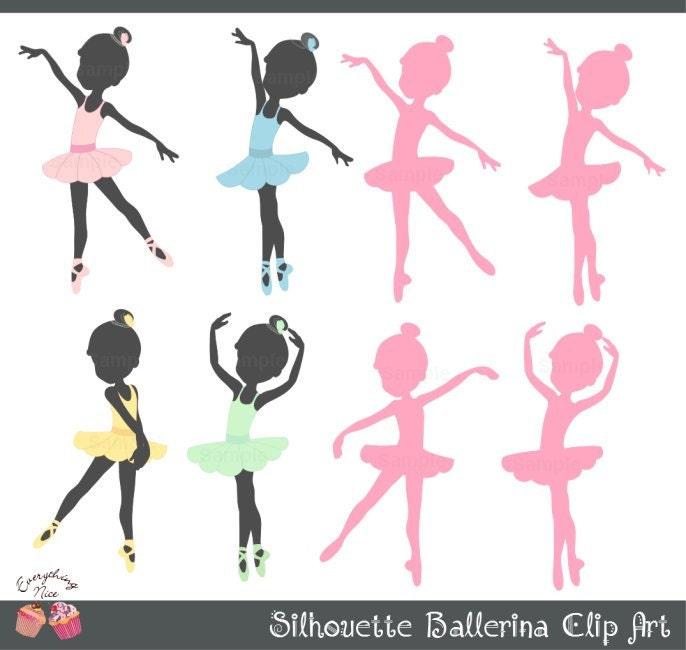 Clip Art Ballerina Clip Art ballerina clip art etsy silhouette ballerinas set