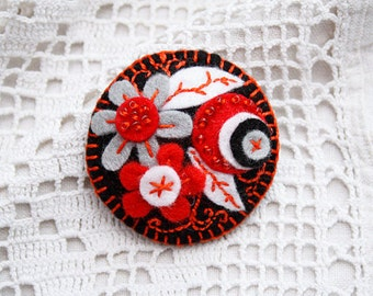 Felt floral pin brooch Embroidered brooch in  BLACK RED GRAY Holiday Gift for her