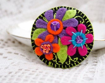 Felt floral pin brooch Black brooch Bright Colorful floral brooch Embroidered brooch Gift for her