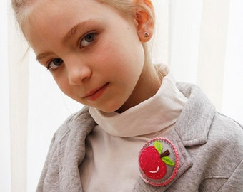 Felt apple brooch Gray pink brooch Kids jewelry Spring apple brooch Summer accessory for girls Back to school gift