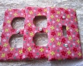 CLEARANCE Light Switch Cover - Light Switch Plate in Bubble Gum Pink with Tiny Flowers