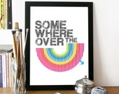 Music Words Print Illustration Art Poster in Black and Rainbow colors  - SOMEWHERE OVER the RAINBOW - A3 poster print