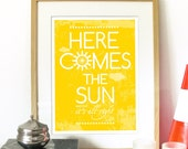Beatles Song Music Here Comes the Sun Poster Art print illustration Typography - A3 size Poster art print fits 11x16 inch opening frame Art