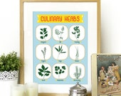 Culinary Herbs Kitchen Poster Art Print Culinary herbs inspired in Mid Century Poster cathrineholm kitchen wall art herbs poster kitchen art