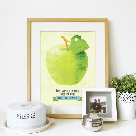 Vintage Kitchen Art Typography Illustration Poster in Green - One Apple a day keeps the doctor Away - A3 poster