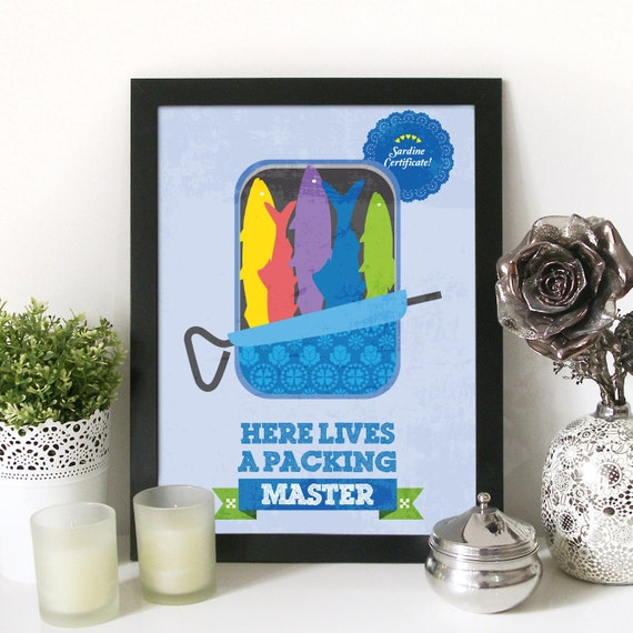 Kitchen Sardines Illustration Print Poster Art with Typography - Here lives a Packing Master kitchen wall art funny poster for kitchen print