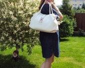 Sale White Leather Hobo Bag Tote Bag Summer Bag Rope Bag Leather Satchel Handbag