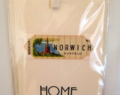Home (moving/celebrating) greeting card. NORWICH, Norfolk. Genuine 1930's playing card mounted. Blank inside.