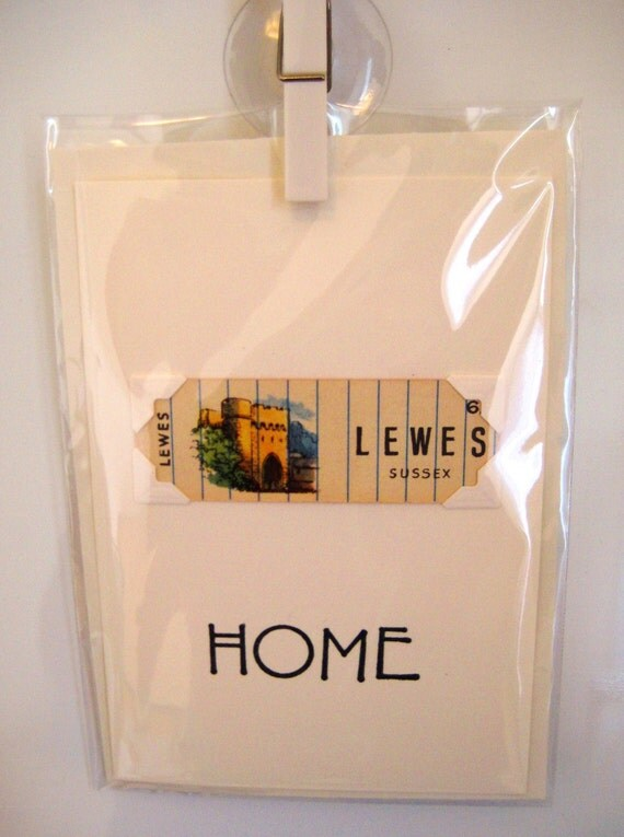 Home (moving/celebrating) greeting card. LEWES, Sussex. Genuine 1930's playing card mounted. Blank inside.