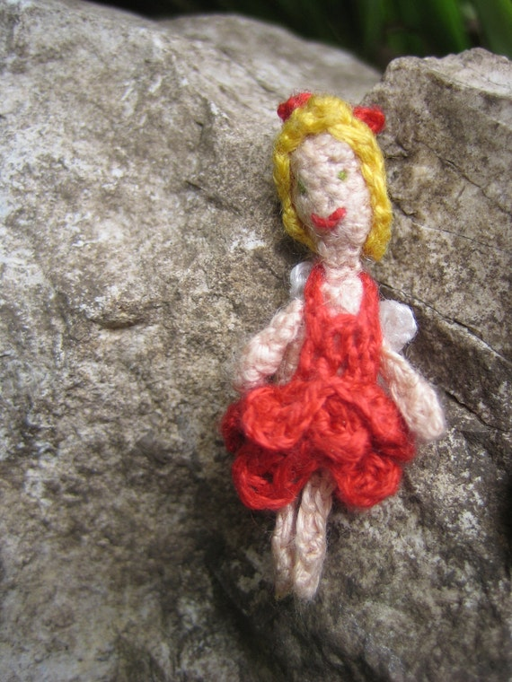 Tiny Fairy art doll, micro crocheted flower fairy doll 'Poppy' miniature / collectors / dolls house, one of a kind tiny faerie