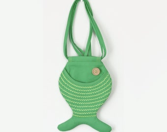 Fish Bag Beach Bag Green Tropical Fish Purse Hipster Cotton Bag Bright Colored Cute Beach Summer Bag Party Bag Crossbody Bag Gift Ideas