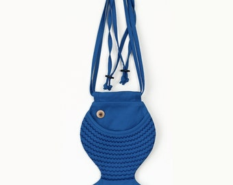 Kids Bag Fish Purse Persian Blue Fish Bag Cross Body Bag Cotton Bag Marine Style Fanny Pack Beach Wear Girls Bag Children's Bag For Kids