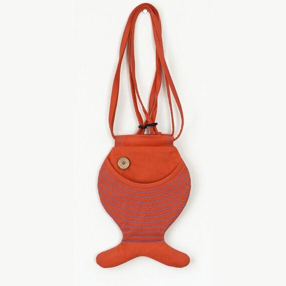 Tangerine Orange Bag Purse Fish Bag Purse Mediterranean Cotton Bag Purse Ocean Sea Inspired Hipster Beach Accessorie Cute Gifts Holiday Gift